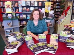 Sara Horn at book signing for God Strong
