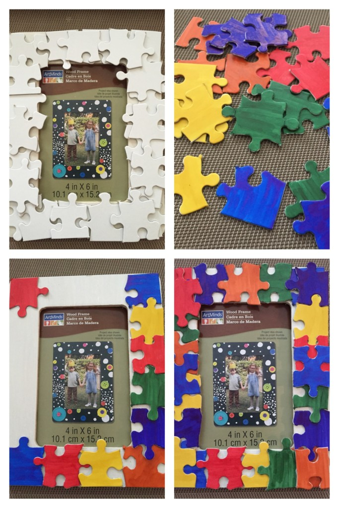 how to make puzzle picture frames for autism awareness